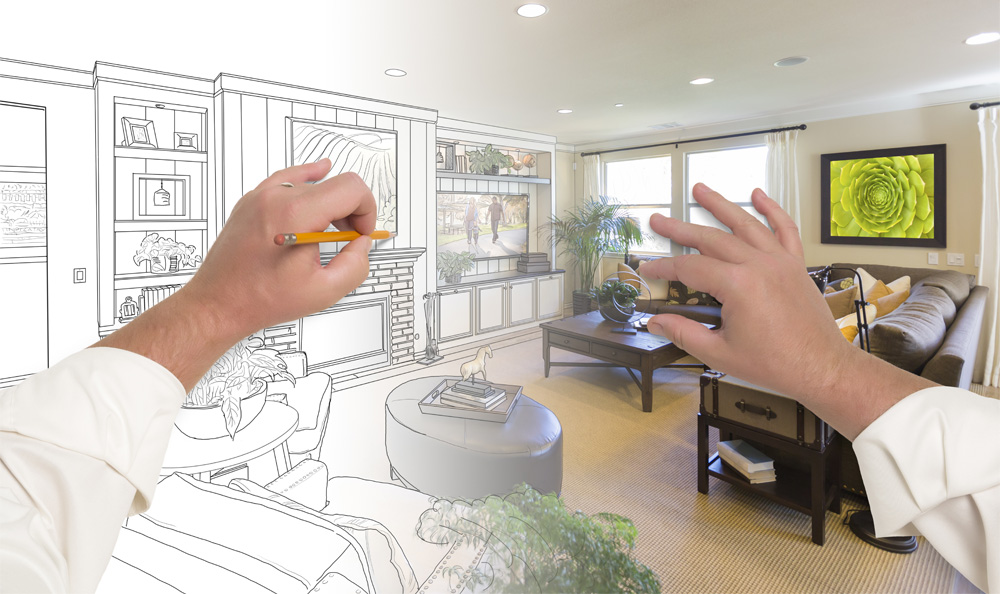 Male Hands Drawing Custom Living Room Design Gradating Into Photograph.